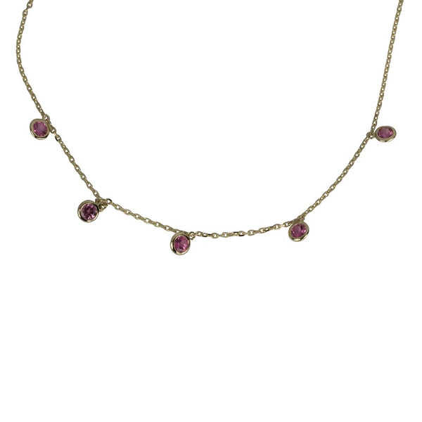 14k Gold 5 Scattered Pink Spinel Necklace
