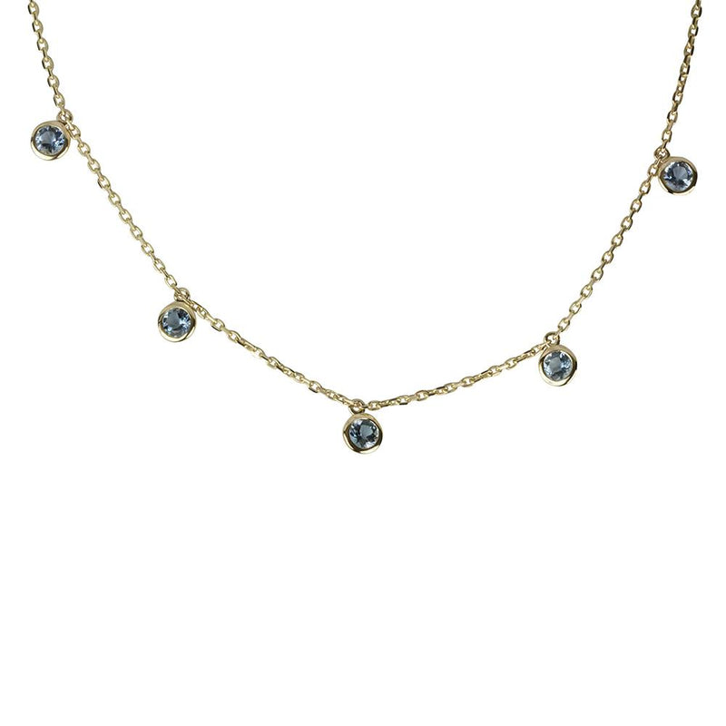 14k Gold 5 Scattered Aquamarine Necklace