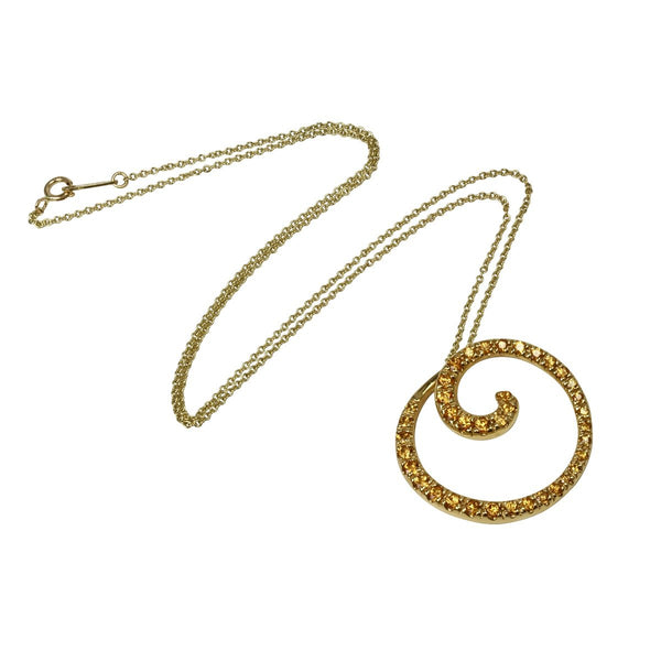 14k Gold Abstract Swirl Spessartite Pendant Necklace
