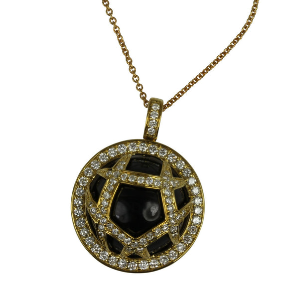 18k Gold 13/16'' Black Onyx & Diamond Dome Pendant Necklace