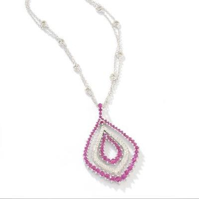 14k Gold Ruby & Diamond Pendant Necklace