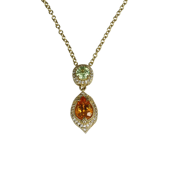 14k Gold Spessartite & Tsavorite Dangling Pendant Necklace