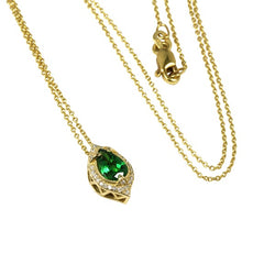 14k Gold Pear Shaped Tsavorite Pendant Necklace