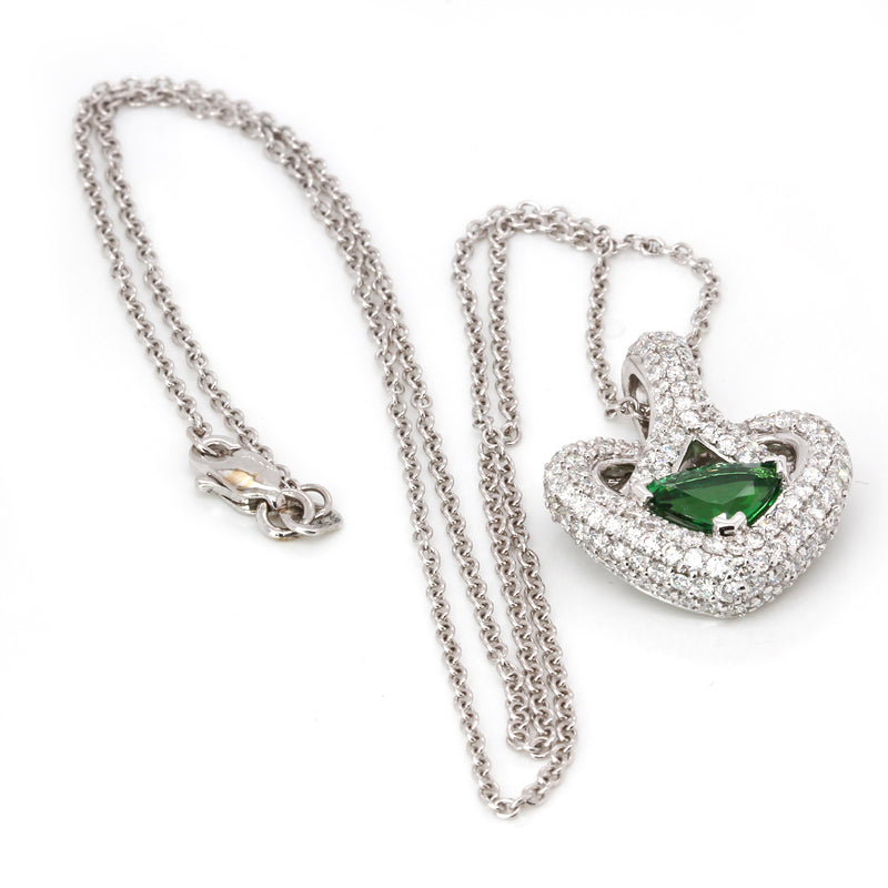 18k Gold Tsavorite & Diamond Heart Pendant Necklace