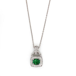 "18k Gold 7/8"" Tsavorite & VS Diamond Pendant Necklace"