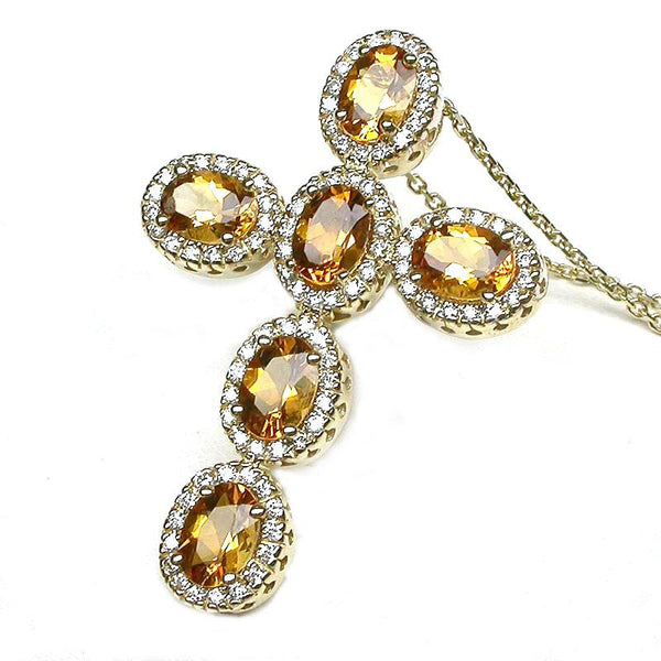 14k Gold Citrine & Diamond Cross Pendant Necklace