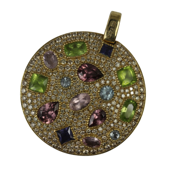 14k Gold 1 5/8'' Multi-gemstone Disc Pendant Necklace