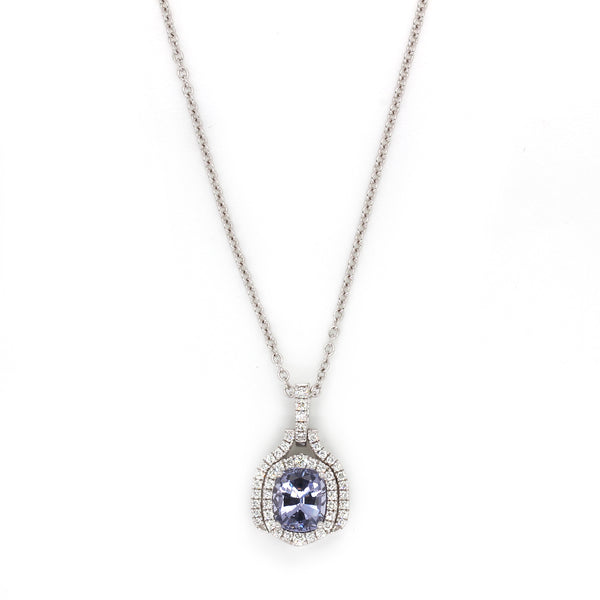 18k Gold Lavender Spinel & VS Diamond Pendant Necklace