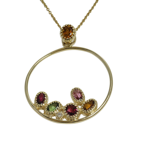 14k Yellow Gold & Multi-tourmaline Circle Hoop Pendant Necklace