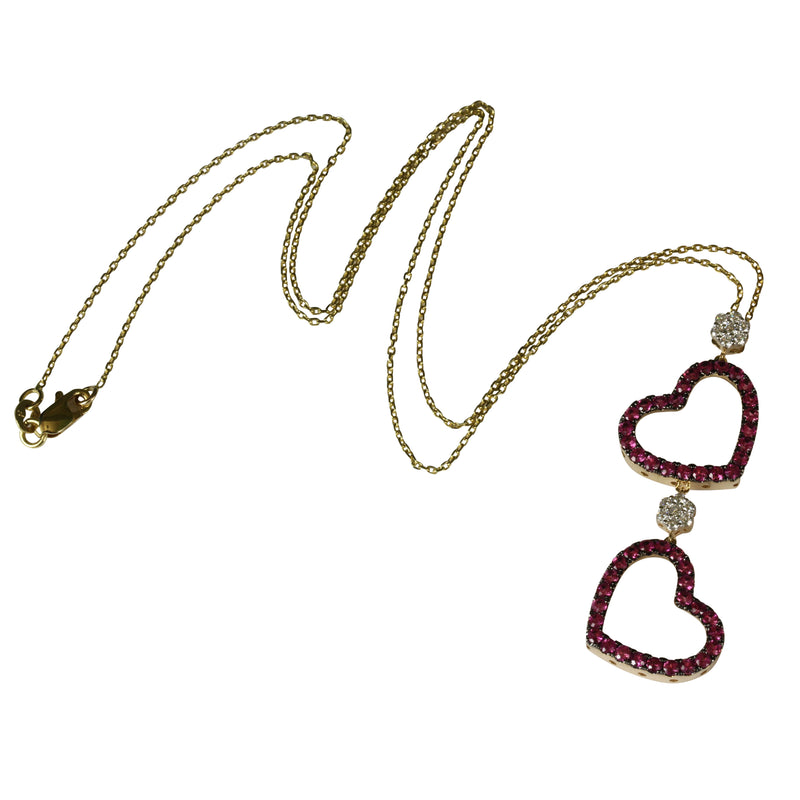 14k Gold Pink Sapphire & Diamond Double Drop Heart Pendant Necklace