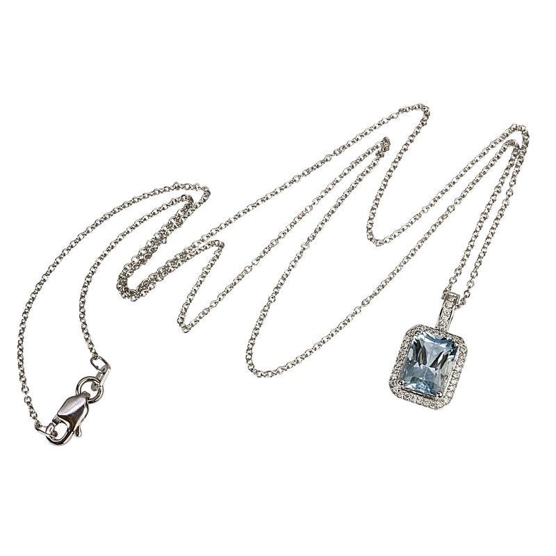 14k Gold Emerald Cut Aquamarine & Diamond Pendant Necklace
