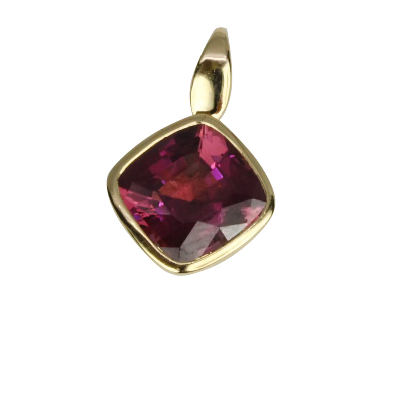 14k Gold Rhodolite Cushion Pendant Necklace