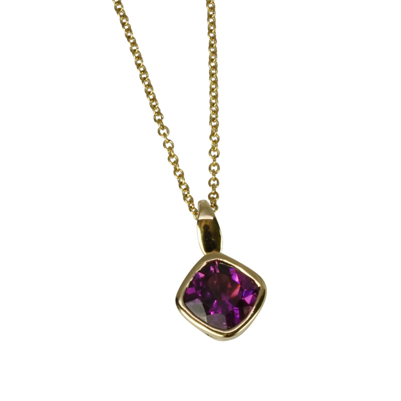 14k Gold Cushion Purple Garnet Pendant Necklace