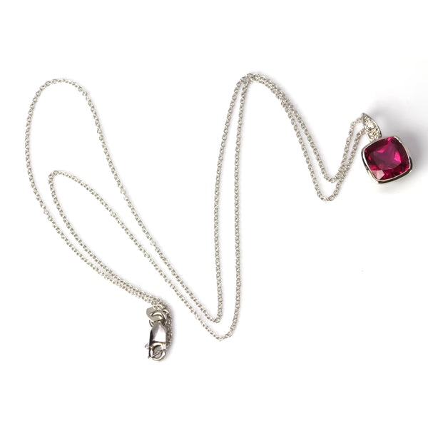 14k Gold Cushion Rubellite & Diamond Pendant Necklace