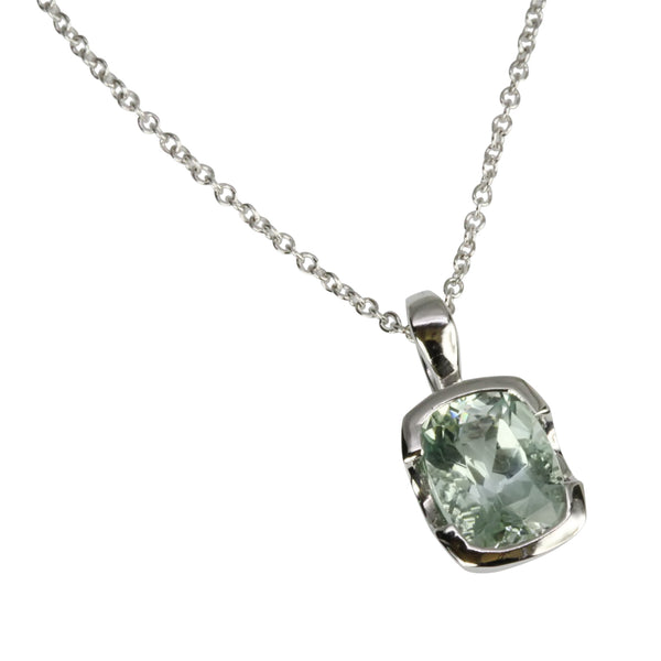 14k Gold Cushion Aquamarine Pendant Necklace