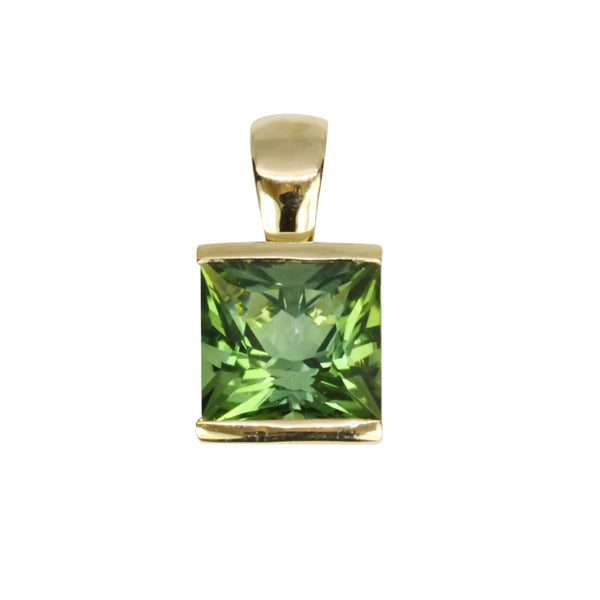 14k Gold Green Tourmaline Pendant Necklace