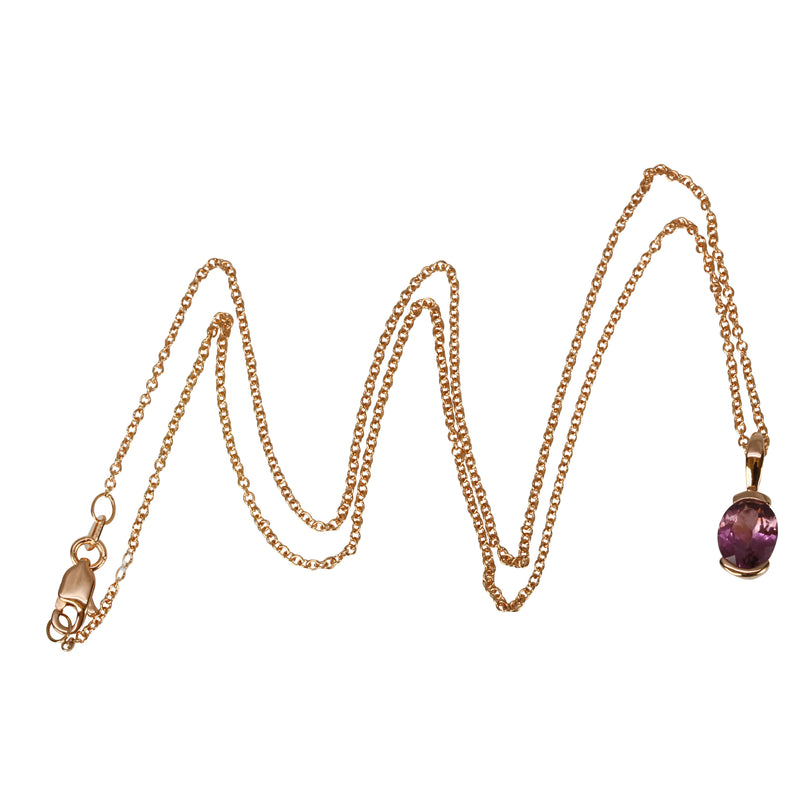 14k Gold Oval Malaya Garnet Pendant Necklace