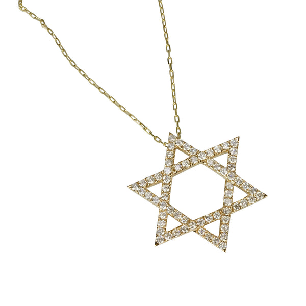 14k Gold Star Of David Pendant Necklace