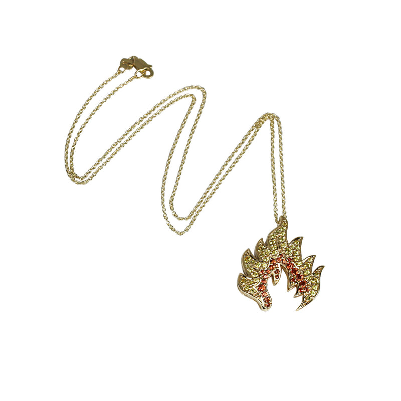 14k Gold Sapphire Flame Pendant Necklace