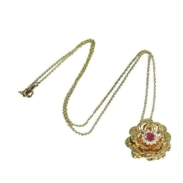 14k Gold Pink Sapphire & Diamond Rose Pendant Necklace
