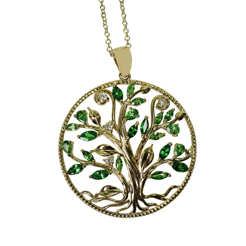 14k Gold Tree Of Life Tsavorite & Diamond Pendant Necklace