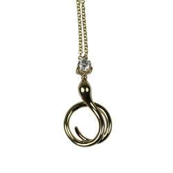 14k Gold Diamond Coiled Snake Pendant Necklace