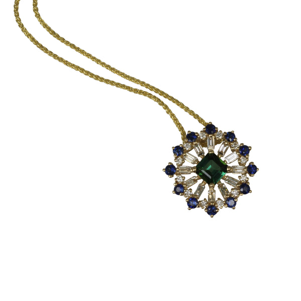 14k Gold Green Tourmaline, Blue Sapphire & Diamond Pendant Necklace