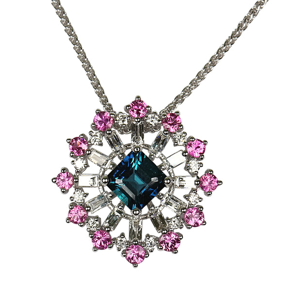 14k Gold Multi Gem Snow Flake Necklace