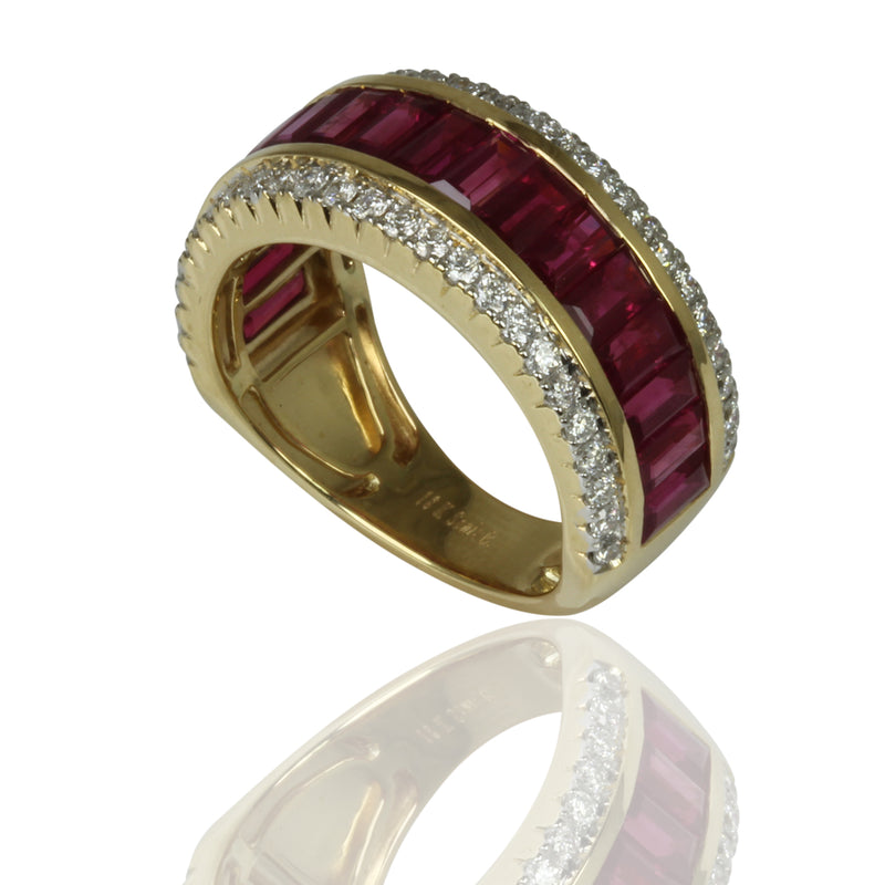 18k Gold Ruby & Diamond Half Eternity Ring