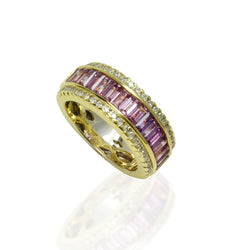 18k Gold Violet Sapphire & Diamond Half Eternity Ring