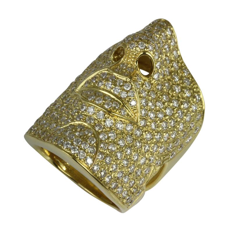 18k Yellow Gold Diamond Face Ring