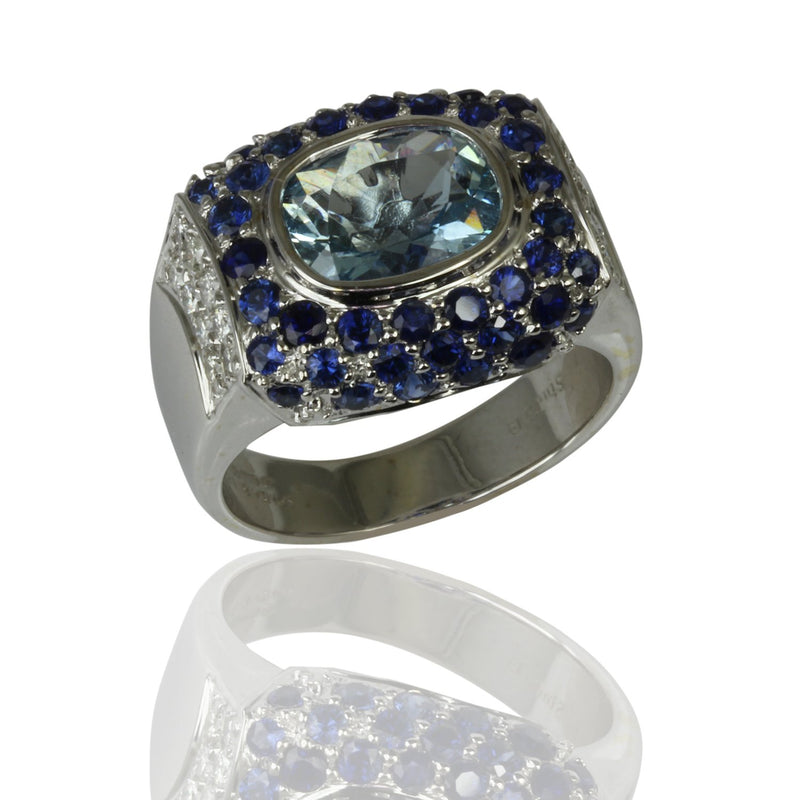 18k Gold Blue Gemstones & Diamond Ring