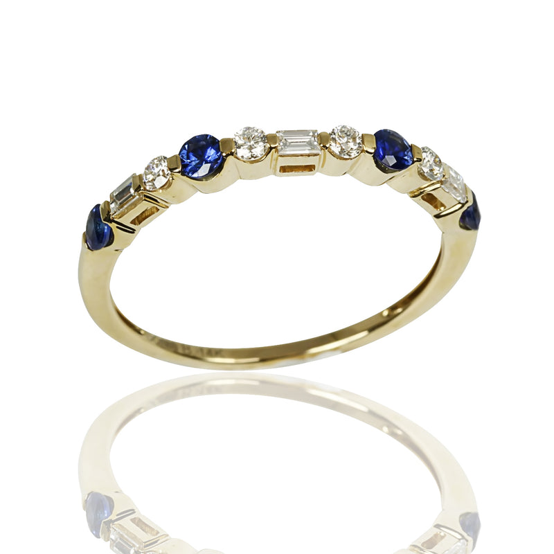 14k Gold Blue Sapphire & Diamond Stackable Ring
