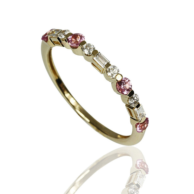 14k Gold Pink Sapphire & Diamond Stackable Ring