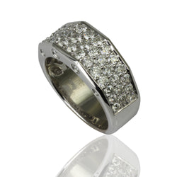 18k Gold Diamond Pave Angled Hexagon Ring