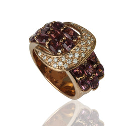 14k Gold Rhodolite & Diamond Buckle Ring