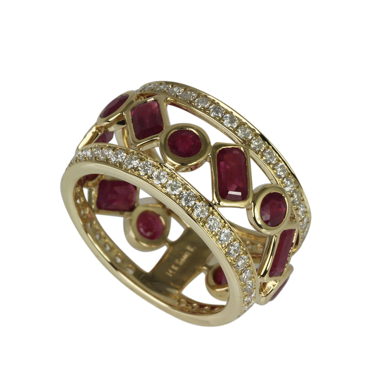 14k Gold Ruby & Diamond Ring