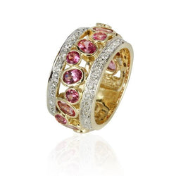 14k Yellow Gold Pink Spinel & Diamond Ring