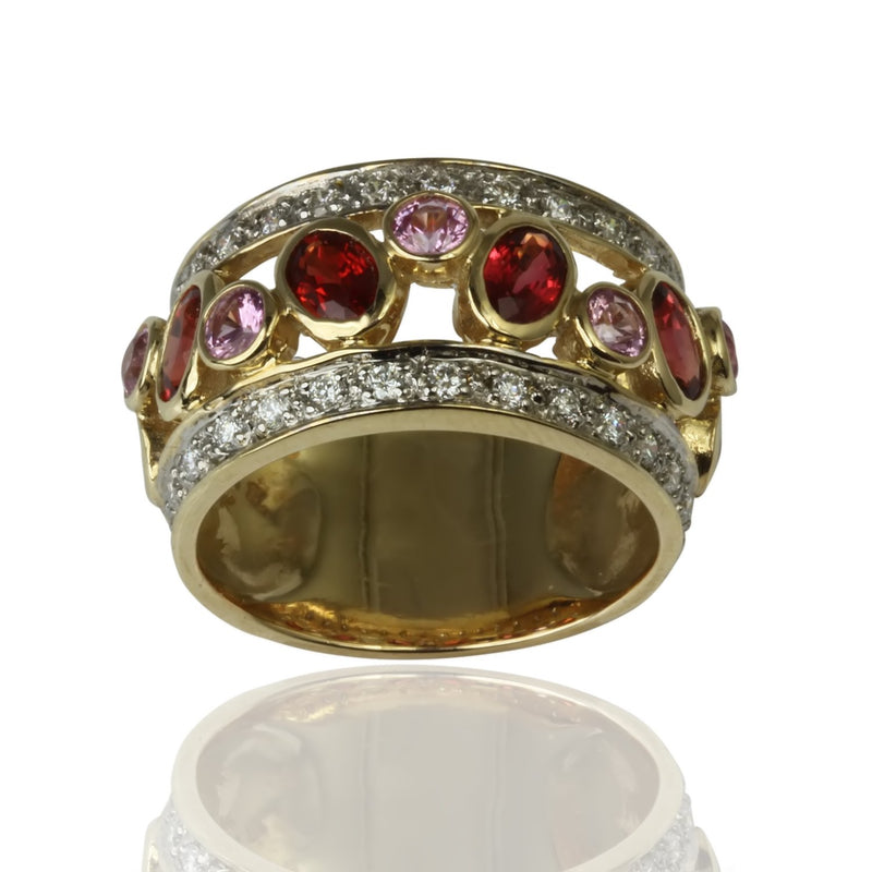 14k Yellow Gold Sapphire & Diamond Ring