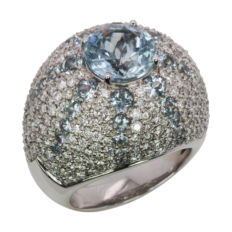 14k White Gold Aquamarine & Diamond Starburst Dome Cocktail Ring