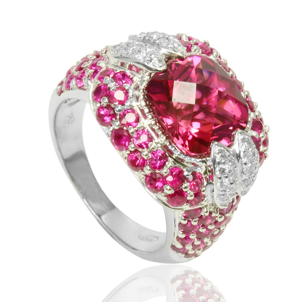 18k White Gold Pink Tourmaline Pink Sapphire & Diamond Ring