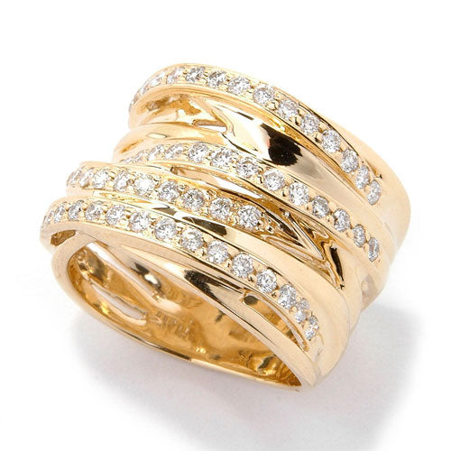 14k Gold Diamond Criss Cross Wide Band Ring