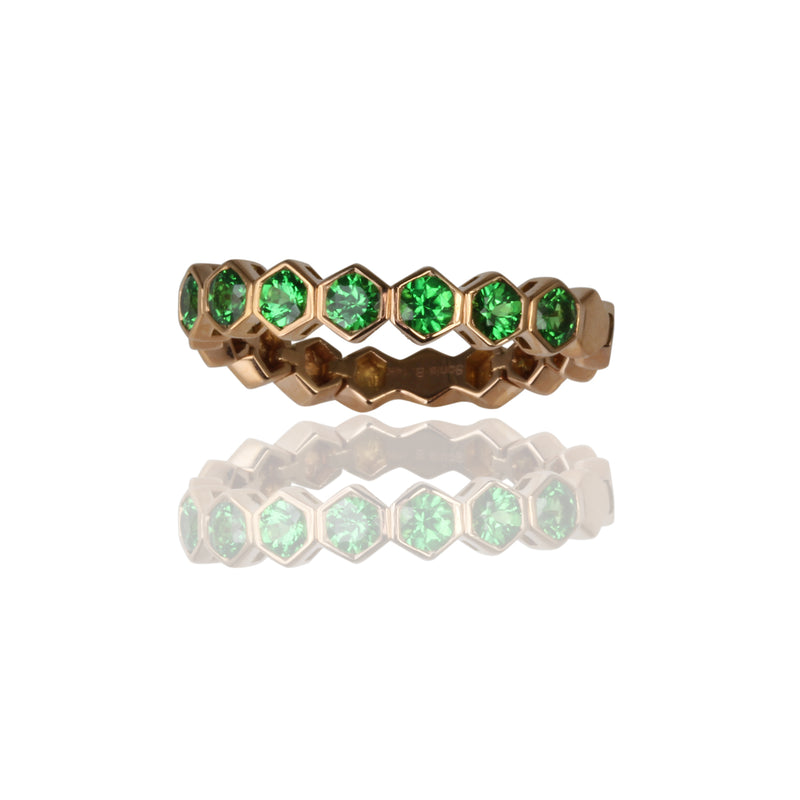 14k Gold Flex Tsavorite Stackable Ring