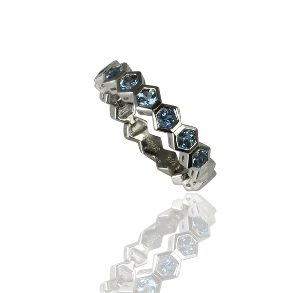 14k Gold Flex Aquamarine Stackable Ring