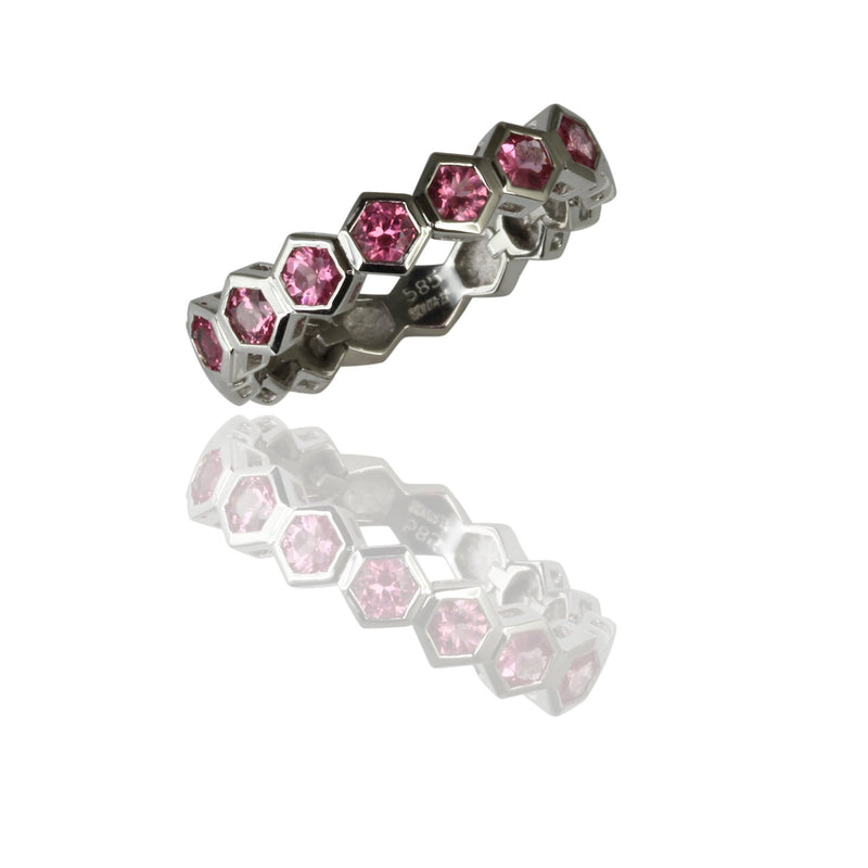 14k Gold Flex Pink Spinel Stackable Ring