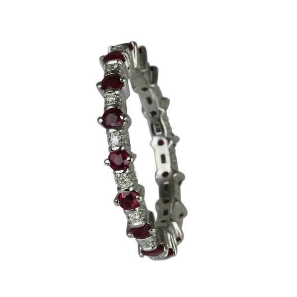 14k Gold Ruby & Diamond Eternity Band Ring