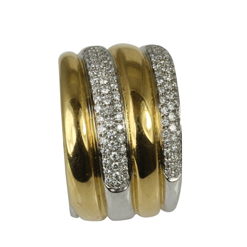 18k Gold Wide Swirl Diamond Ring