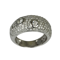 14k Gold Bubble Bezel Diamond Pave Dome Ring