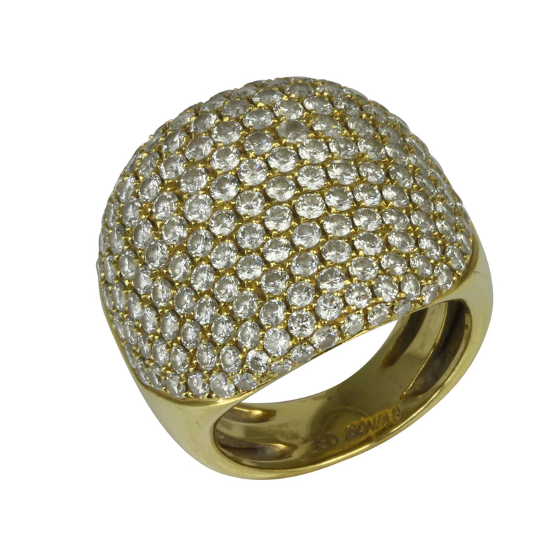 18k Gold Diamond Pave Dome Ring