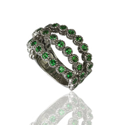 14k White Gold Three Row Flex Tsavorite Ring